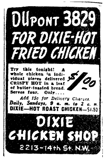 Dixie Chicken Shop advertisement (May 20th, 1939)
