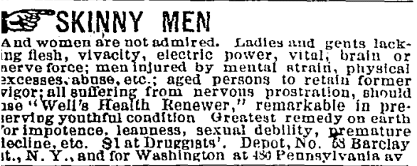 1879 Ad: Skinny Men and Women and Not Admired
