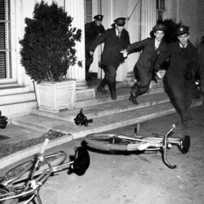 bike couriers exit the White House to deliver the news of Pearl Harbor