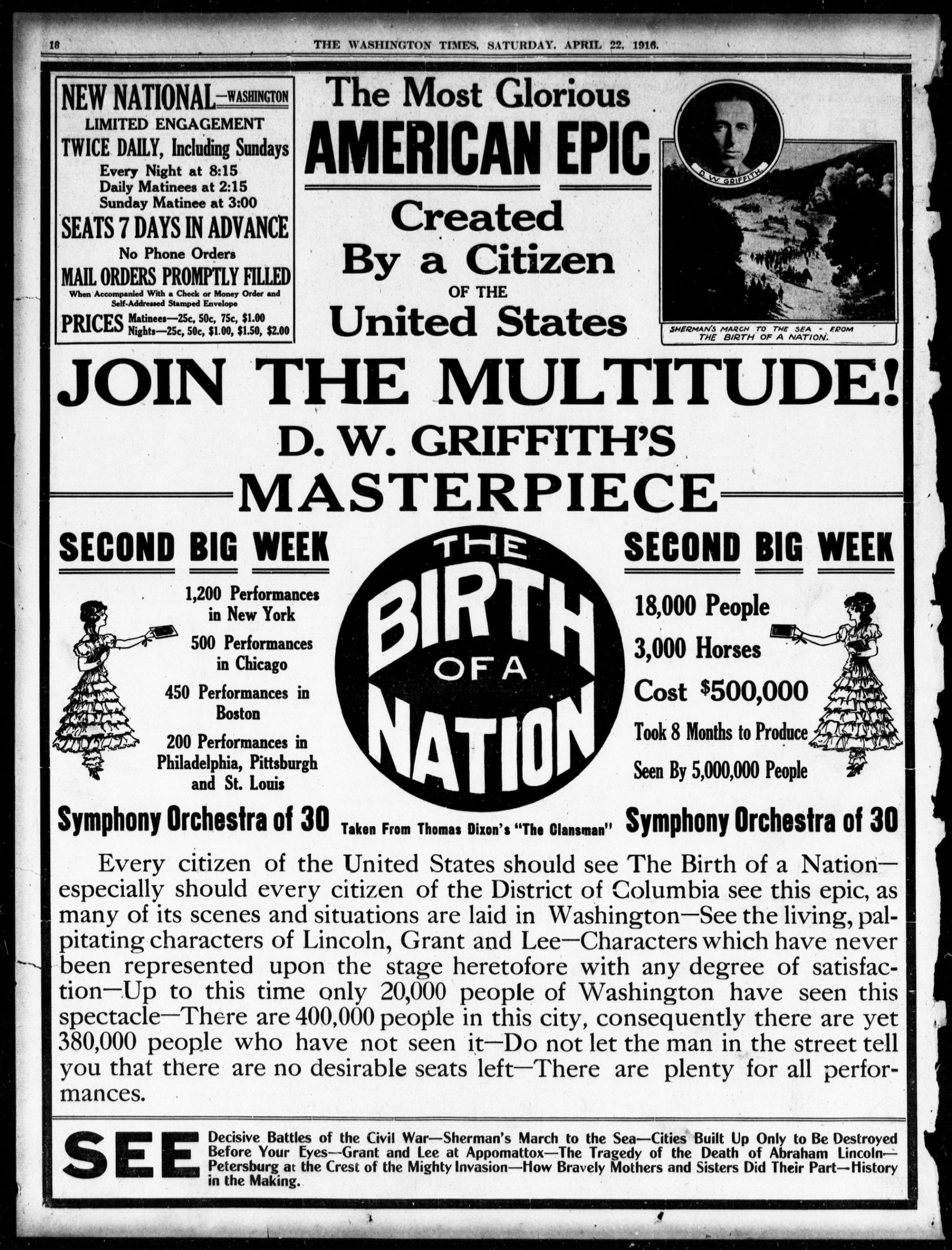 advertisement for The Birth of a Nation