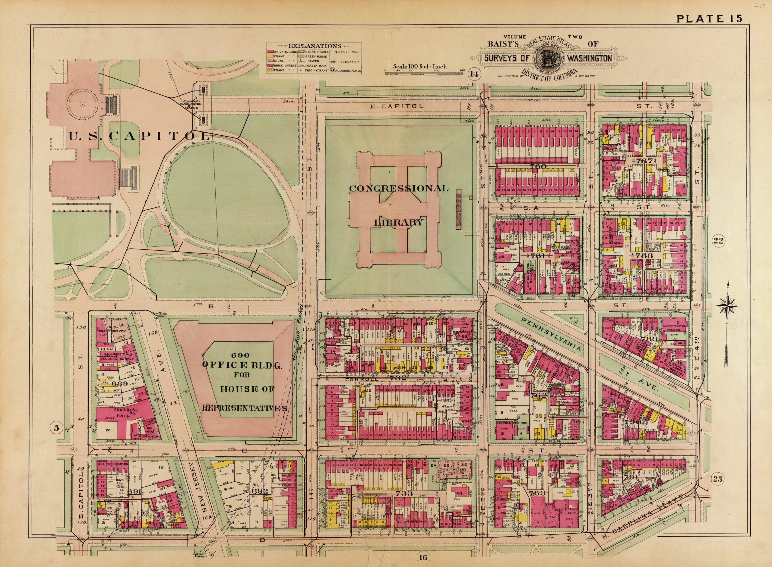 Cool 1909 Map of Capitol Building and Southeast