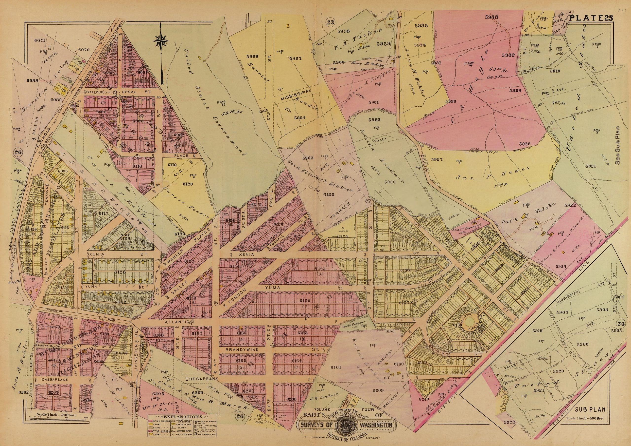 1921 Baist real estate atlas of southeast D.C.