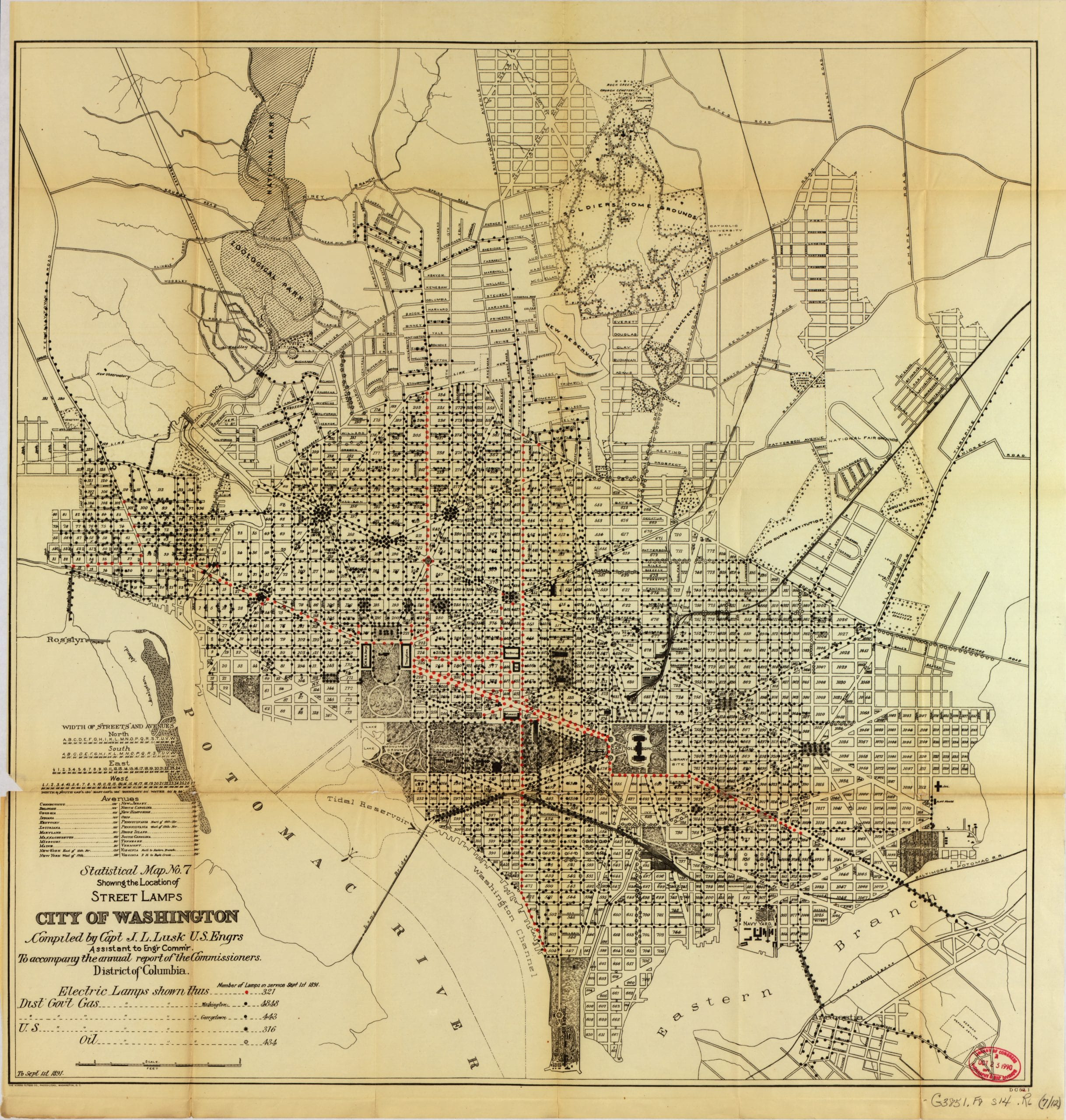 1891 Map of Washington's Street Lamps