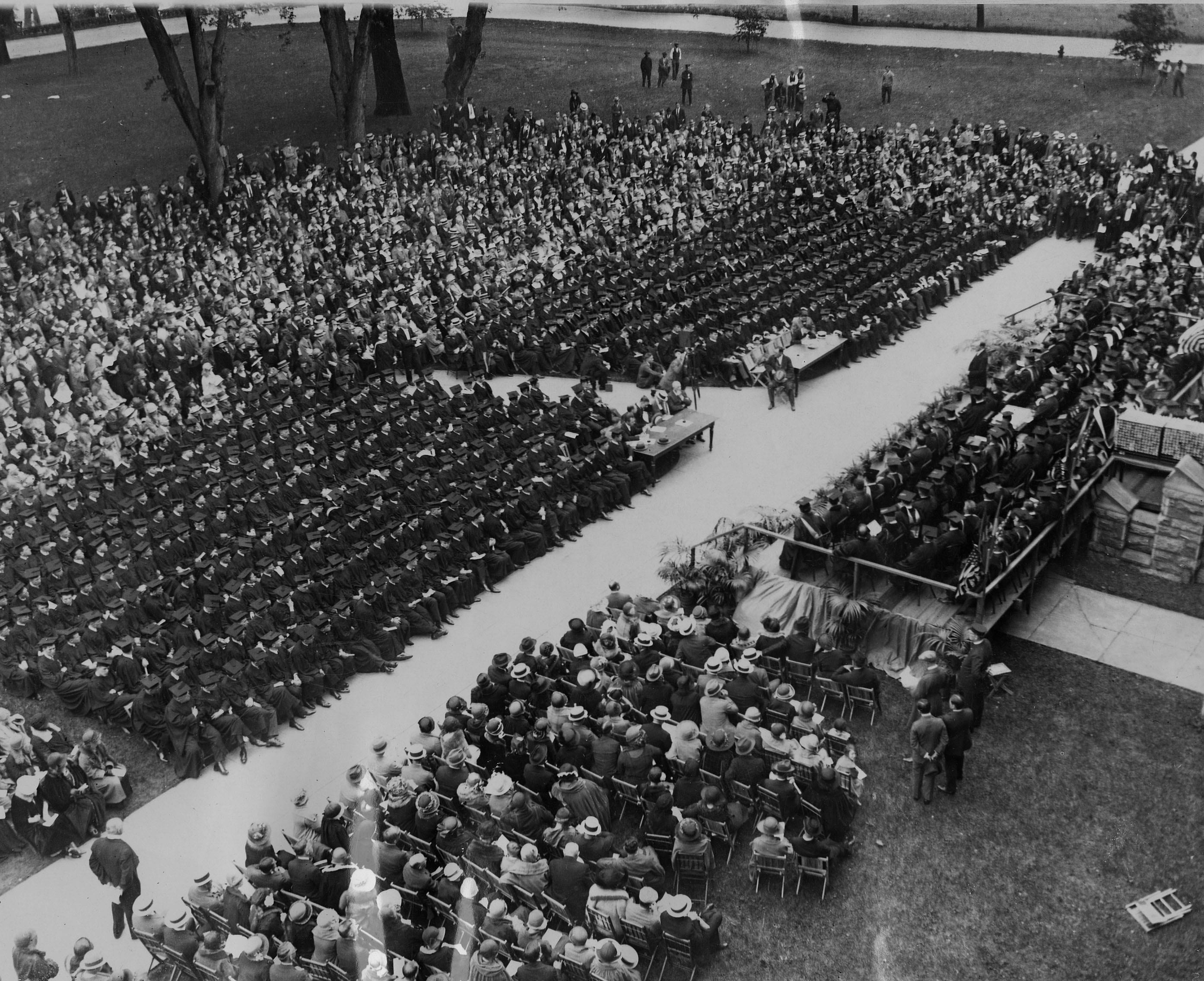 Georgetown University commencement exercises on Healy lawn (1924)