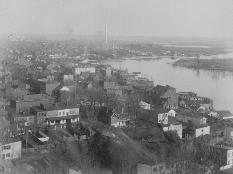View from the south tower of Healy Hall at Georgetown University, looking towards Washington, D.C., with the Washington monument in the distance