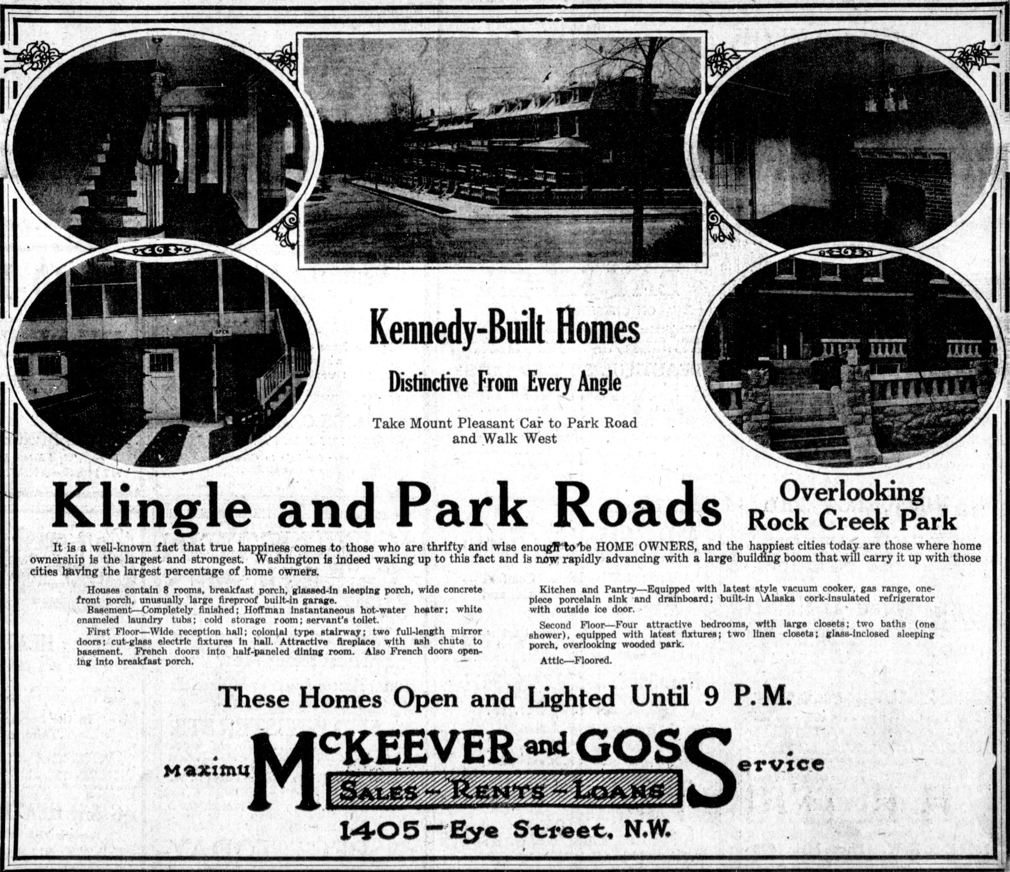 Homes for Sales on Klingle and Park Roads (1922)