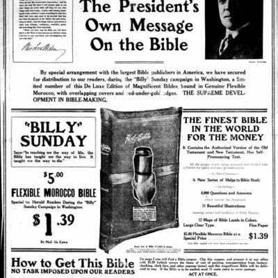 bible advertisement in the Washington Herald (January 10th, 1918)