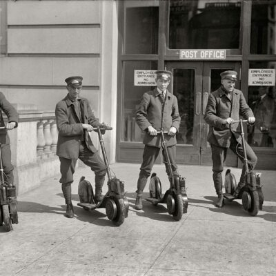 "Washington, D.C., circa 1917. ""Post Office postmen on scooters."" Kind of a Segway vibe here. Harris & Ewing Collection glass negative."