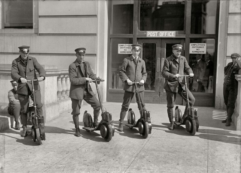 """Washington, D.C., circa 1917. """"Post Office postmen on scooters."""" Kind of a Segway vibe here. Harris & Ewing Collection glass negative."""