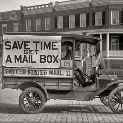 "Washington, D.C., 1916. ""Post Office Department mail wagon."" With a slogan we can all get behind. Harris & Ewing Collection glass negative."
