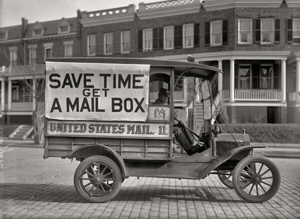 """Washington, D.C., 1916. """"Post Office Department mail wagon."""" With a slogan we can all get behind. Harris & Ewing Collection glass negative."""