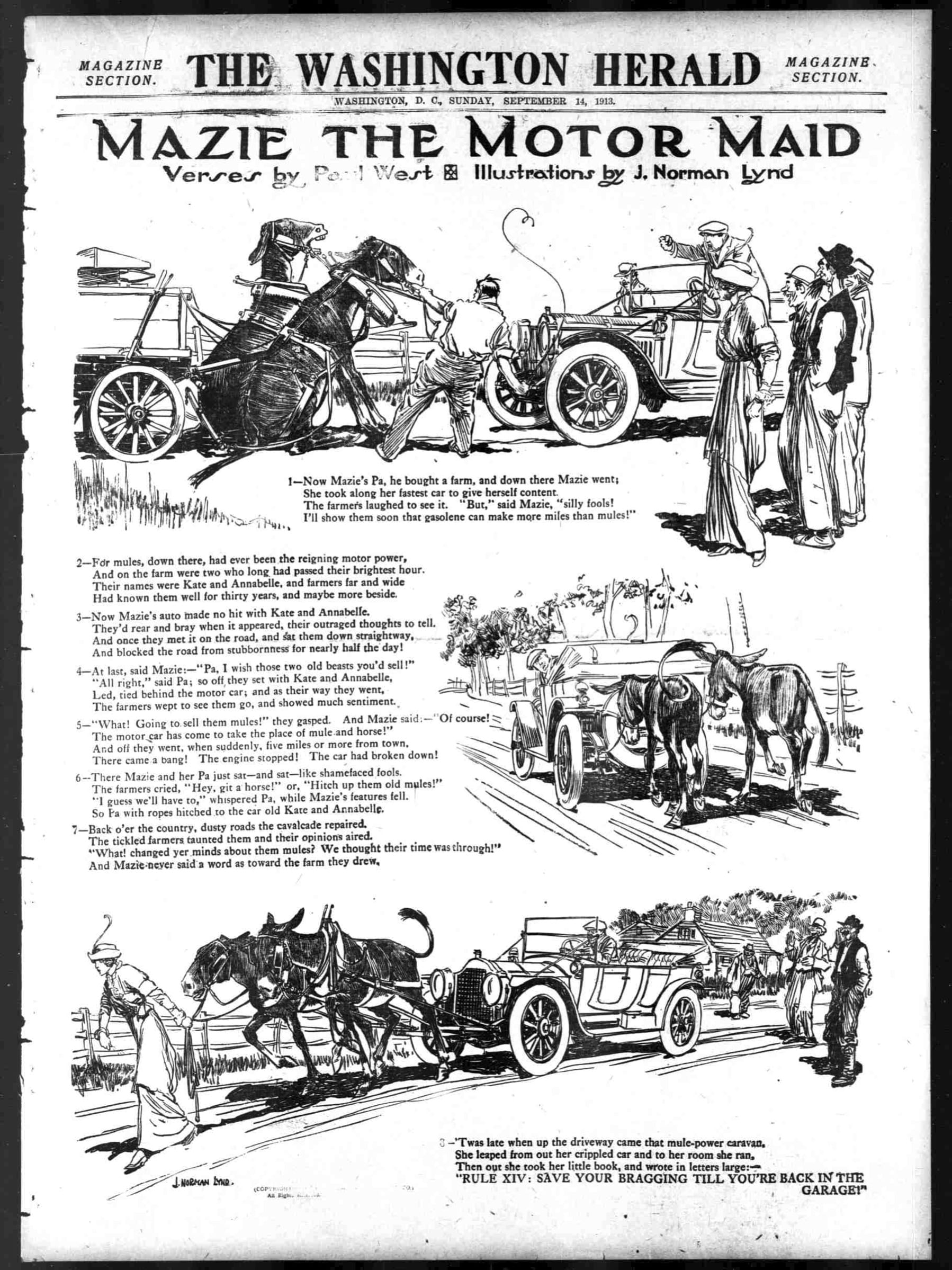 September 14th, 1913: Mazie the Motor Maid