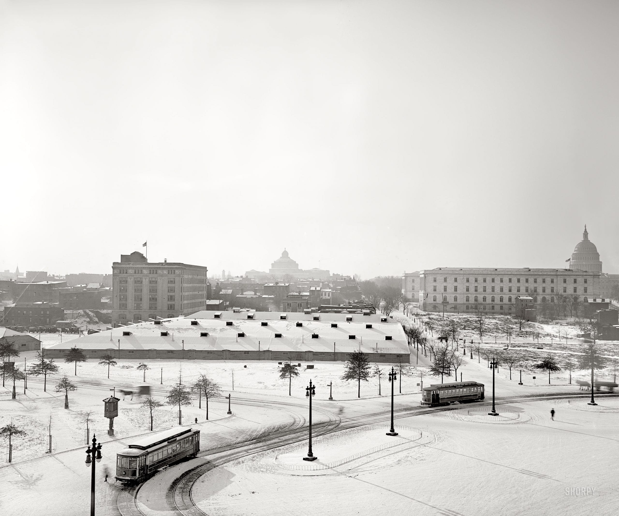 """January 1918. Washington, D.C. """"Billy Sunday tabernacle."""" A temporary meeting hall built near Union Station for a three-month series of revival meetings held by the famous evangelist. Harris & Ewing Collection glass negative."""