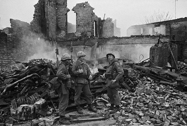 soldiers amid 1968 riot ruins