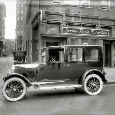 """Washington, D.C, 1921. """"Scripps-Booth Sales Co., 14th Street N.W."""" And one very shiny sedan. National Photo Company Collection glass negative."""