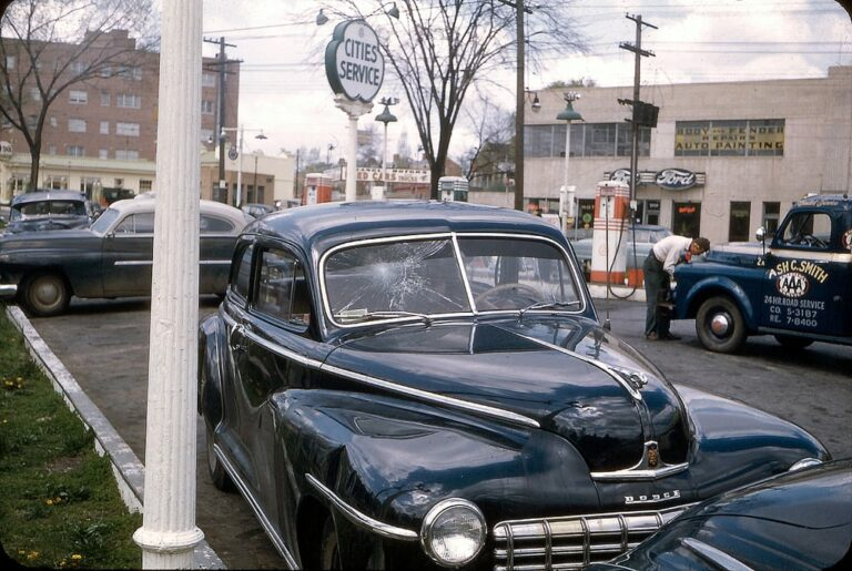 1950s car after accident