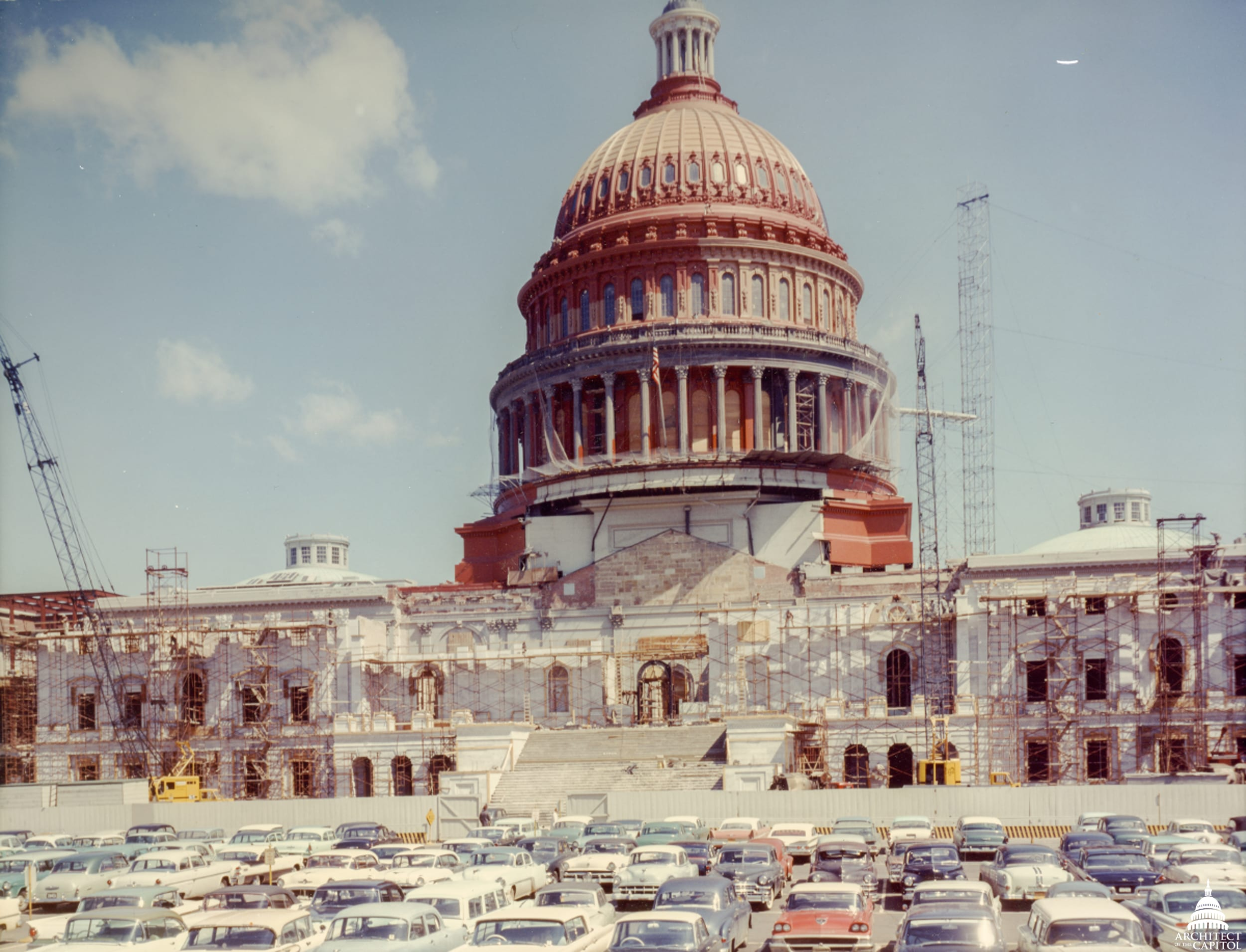 In late 1959 through 1960, the Capitol Dome underwent a significant repair and restoration effort and at the end of 1959 the exterior of the Dome was surrounded by scaffold.