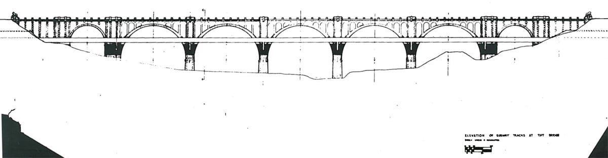 Elevation of Subway Tracks at Taft Bridge