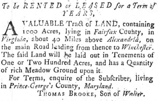 1,000 Acres to Lease in Fairfax County (1760)