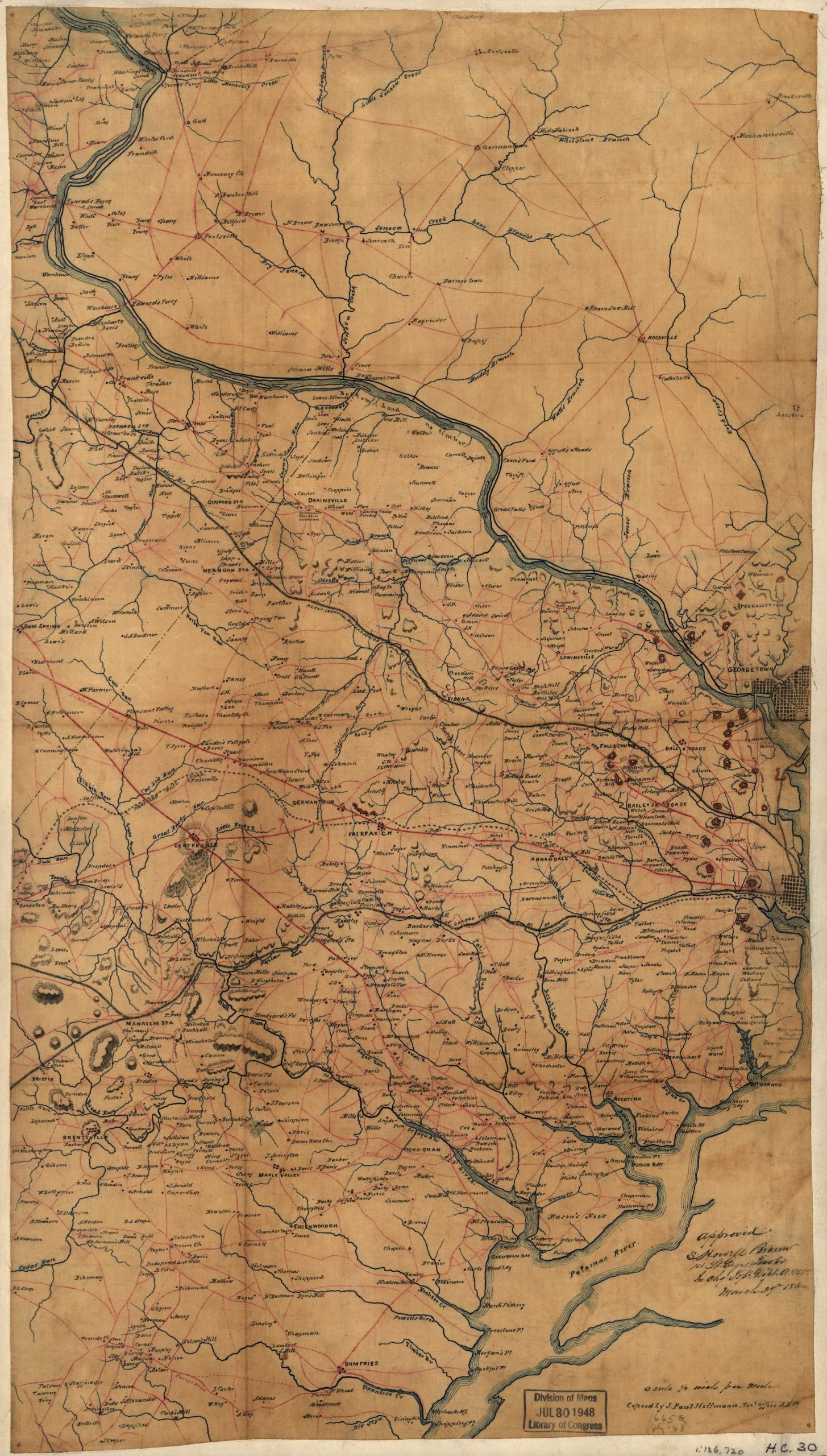 A map of Fairfax County, and parts of Loudoun and Prince William Counties, Va., and the District of Columbia] / copied by J. Paul Hoffmann, Top'l. Office, A.N.Va. ; approved S. Howell Brown, 1st Lt. Engs. Troops, in chg. Topl. Dept. A.N.V., March 29th 1864.