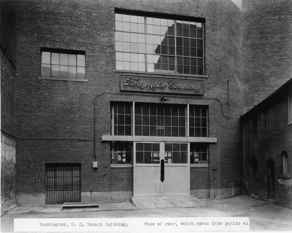rear of Ford branch building opening to alley