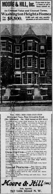 Washington Heights Home for Sale; $8,500 in 1904