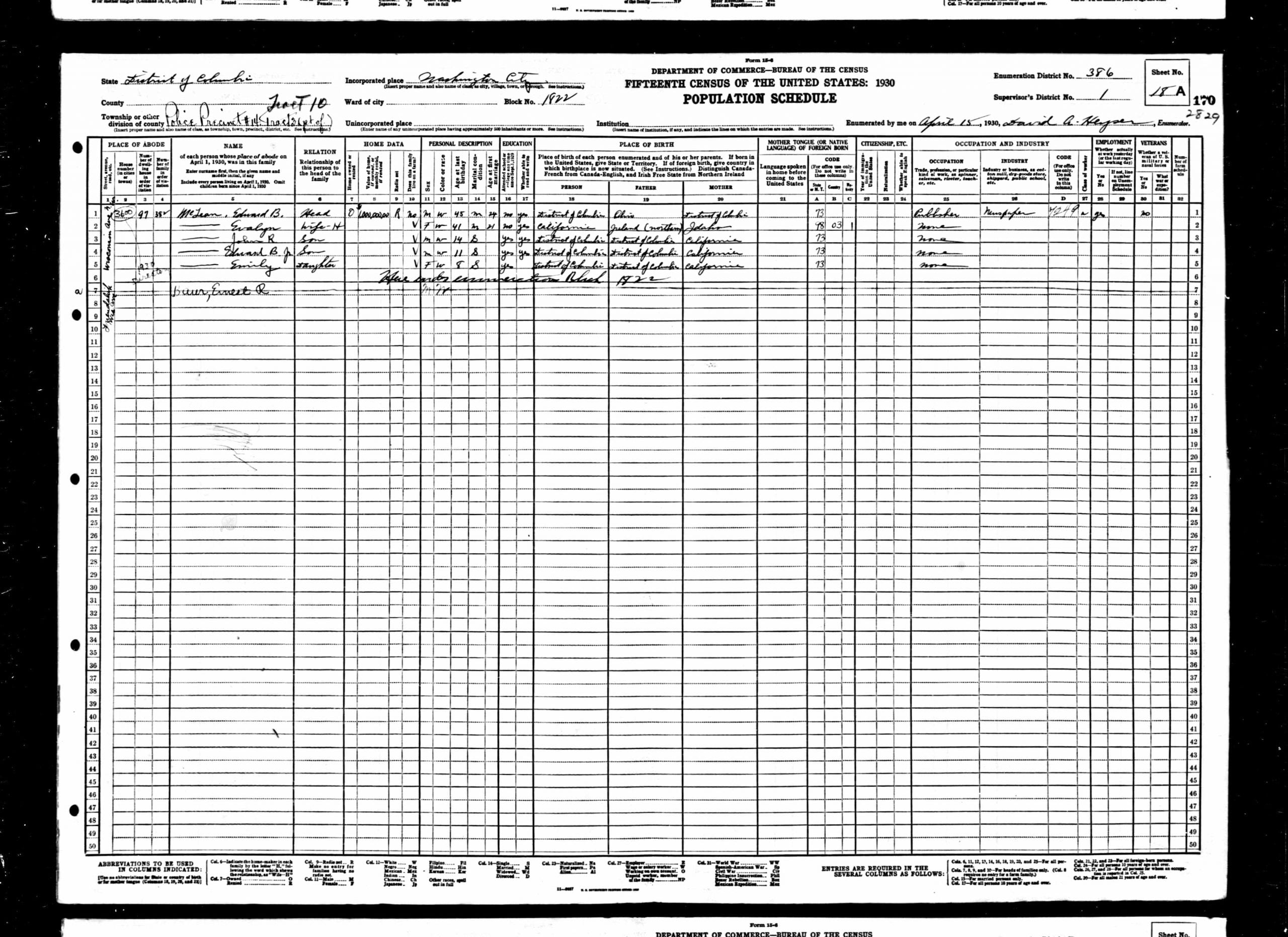 McLean family in the 1930 U.S. Census