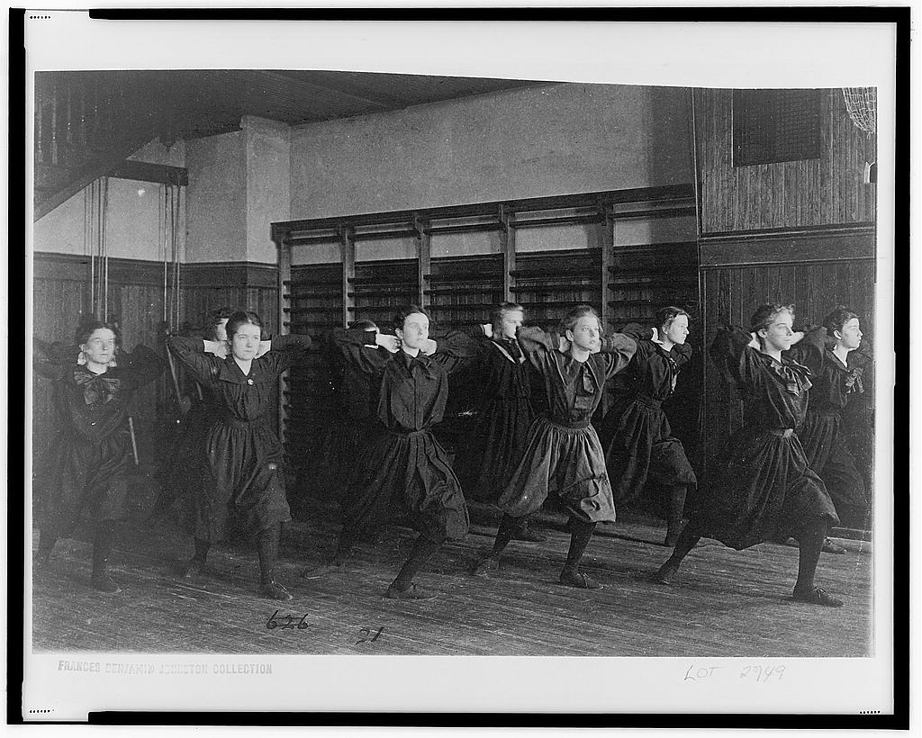 Women at Western High School exercising