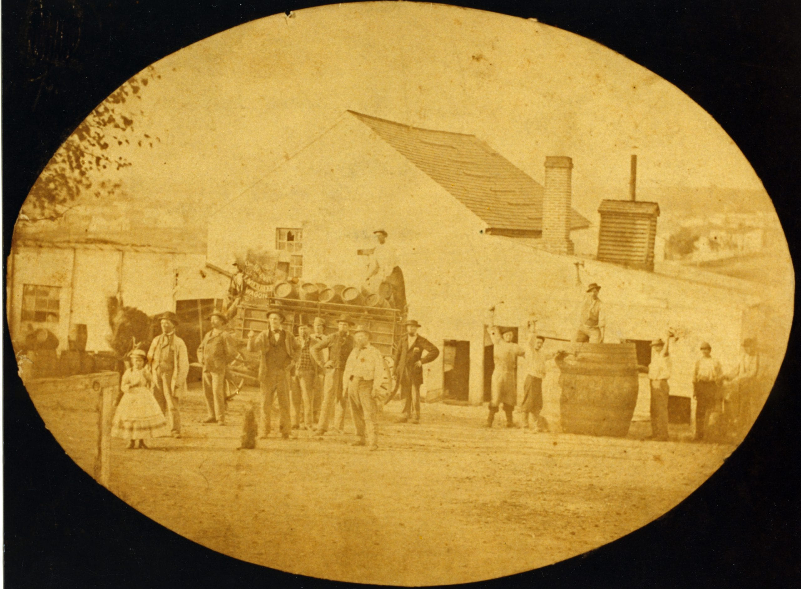 Mount Vernon Lager Beer Brewery and Pleasure Garden near the northeast corner of 4th and E Streets NE. (Juenemann Photograph Collection, HSW, ca. 1865-1870)