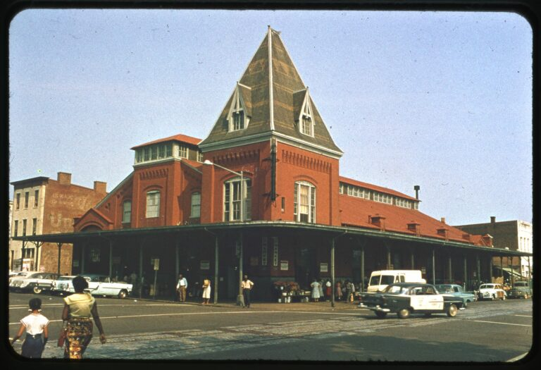 O Street Market on northwest corner of 7th and O Streets NW. (Emil A. Press Slide Collection, 1959)