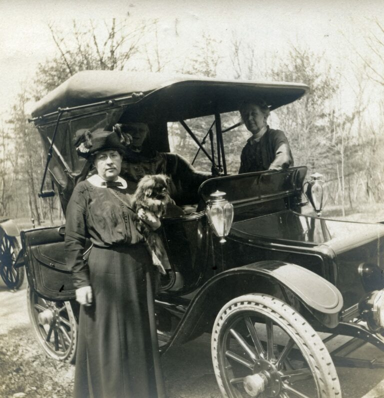 Nellie and Isabel Sedgeley with their electric car, unidentified site. Sedgeley Photograph Collection c.1905-1915