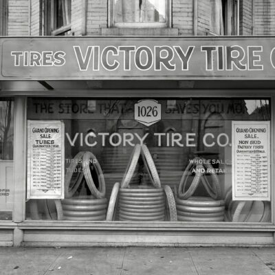 "Washington, D.C., circa 1920. ""Victory Tire Co., 14th Street N.W."" Guaranteed 6,000 miles! National Photo Company glass negative."