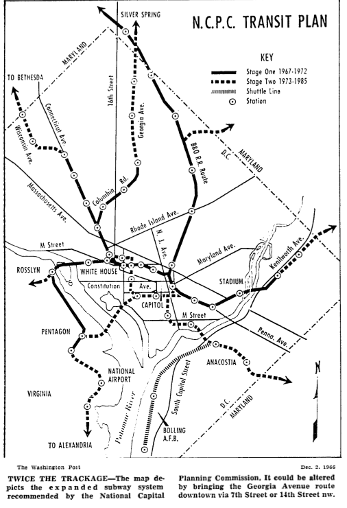 proposed Metro map in 1966