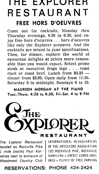 The Explorer Restaurant advertisement