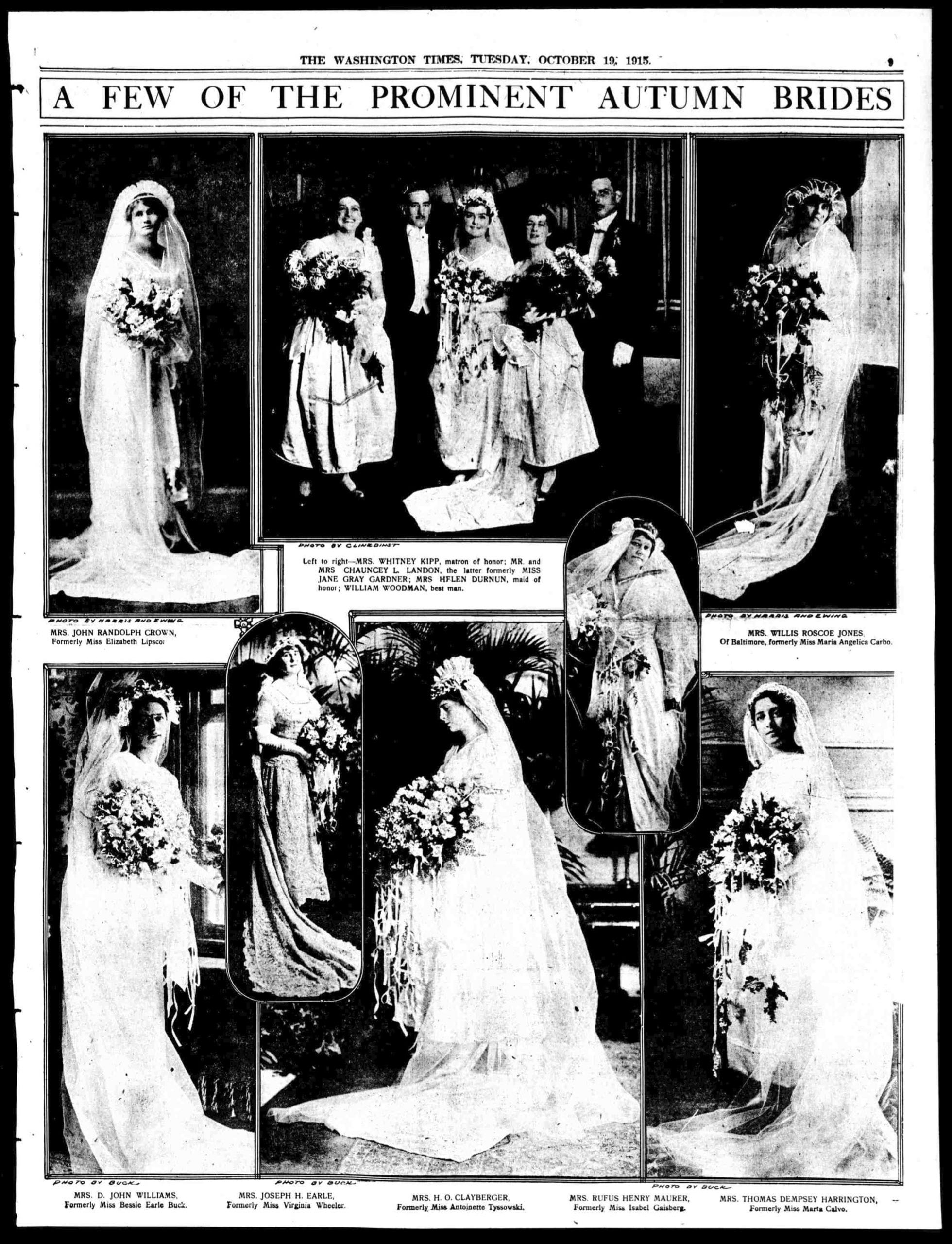 Prominent Washington Fall Brides of 1915