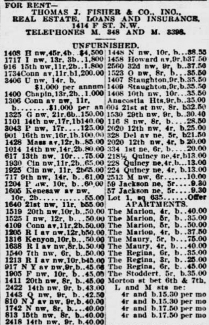 Evening Star homes for rent - August 4th, 1904