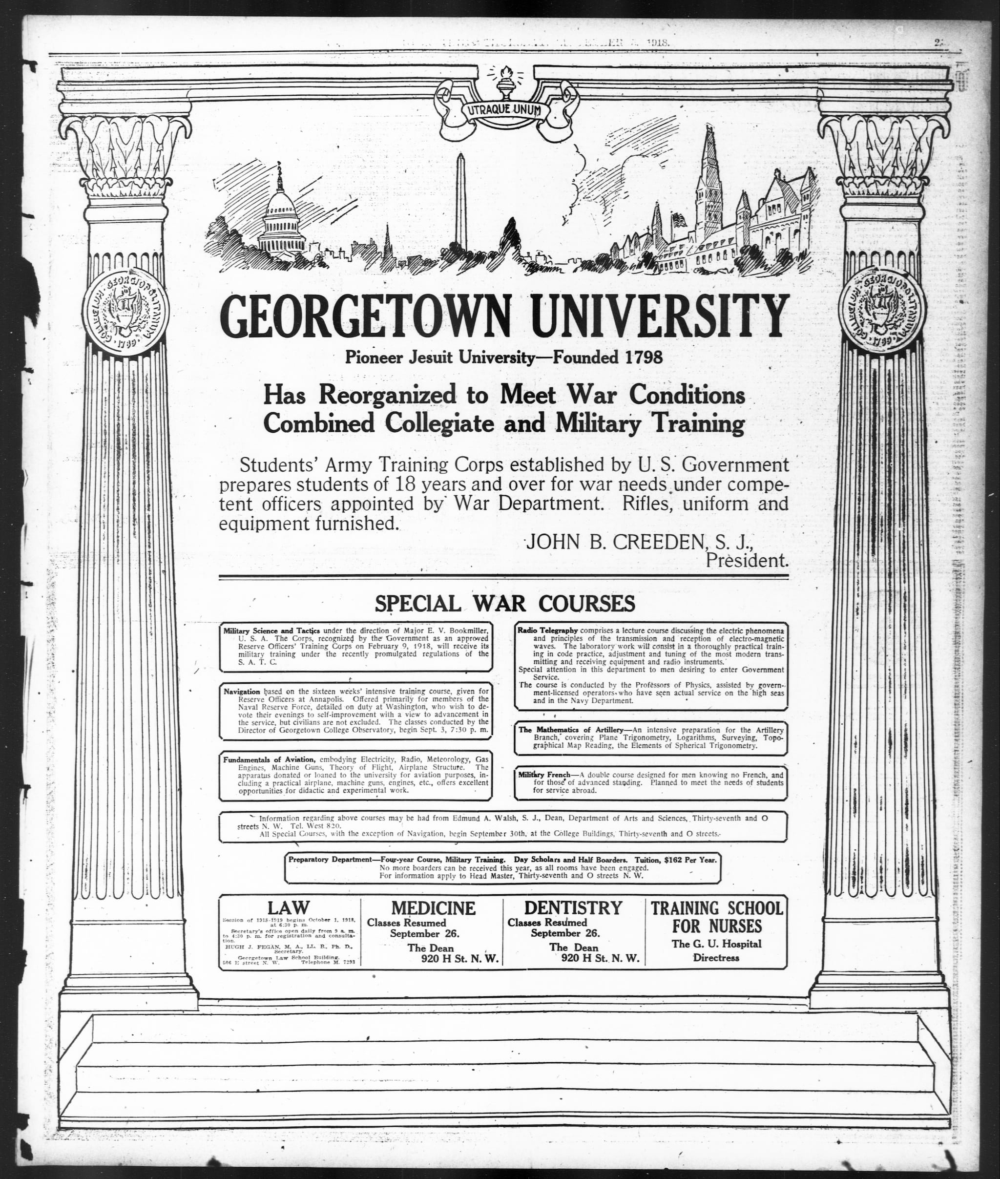 Georgetown University 1918 Advertisement