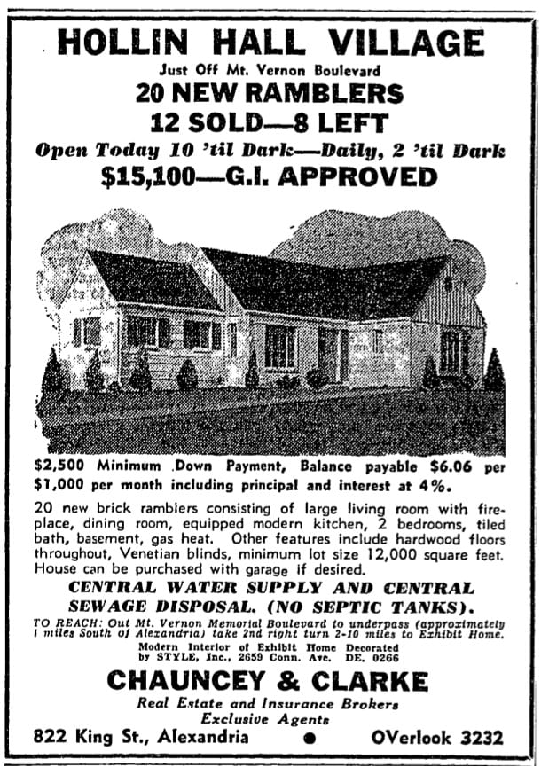 Hollin Hall advertisement - February 29th, 1948