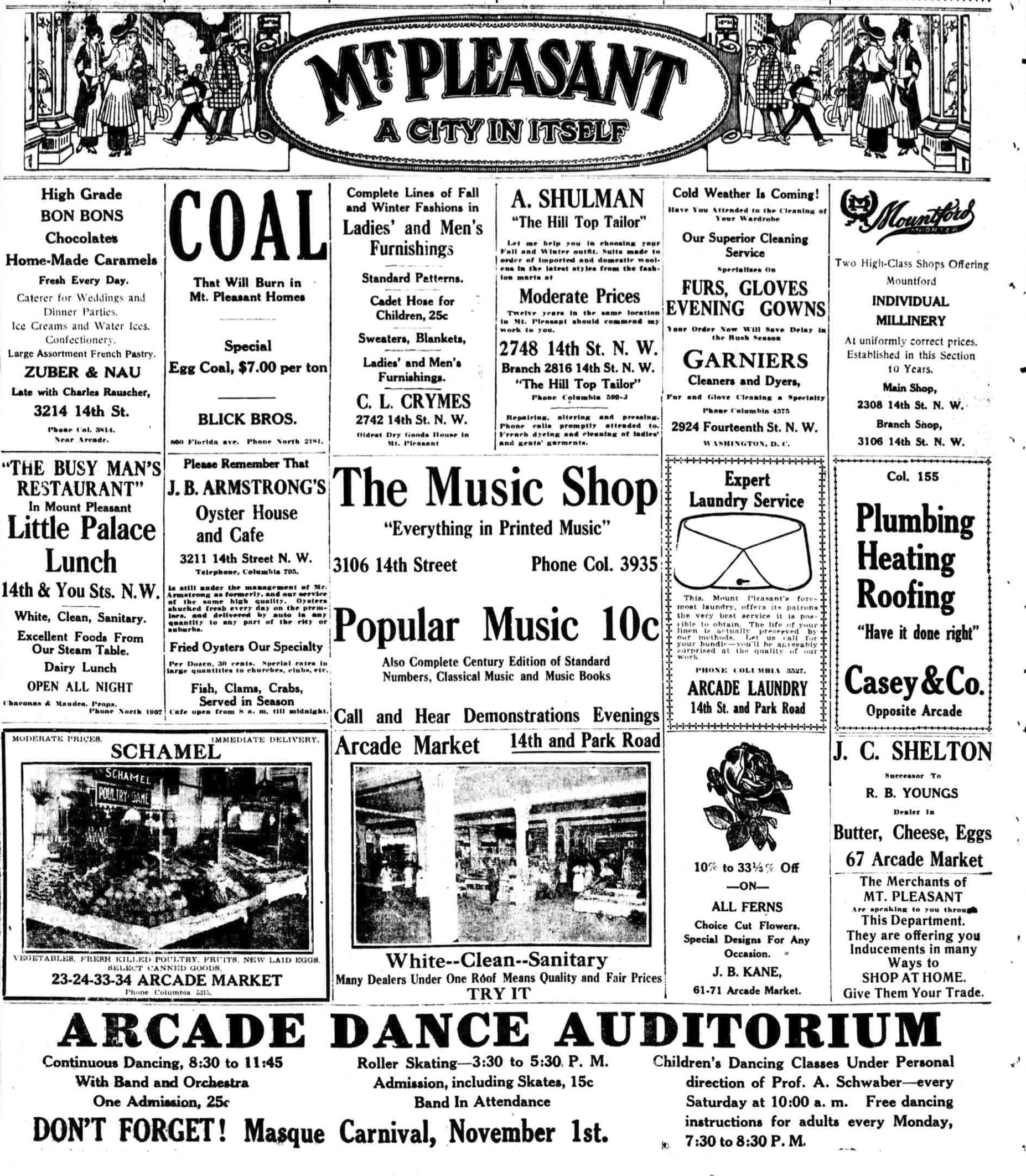 Mt. Pleasant advertisement in 1915