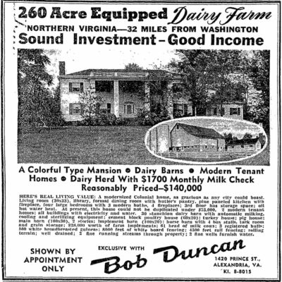 dairy farm advertisement in 1950