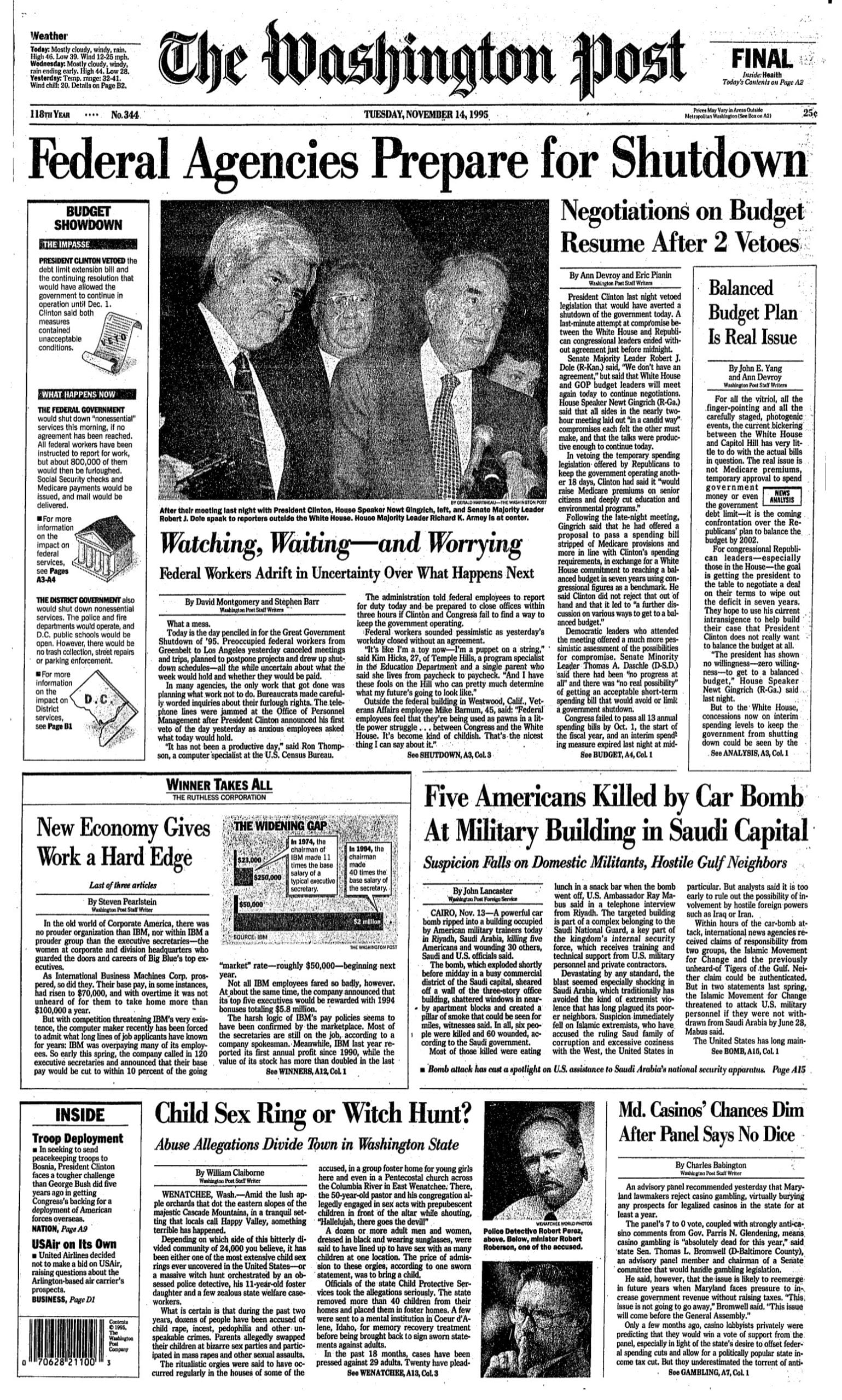 Washington Post front page - 11/14/95