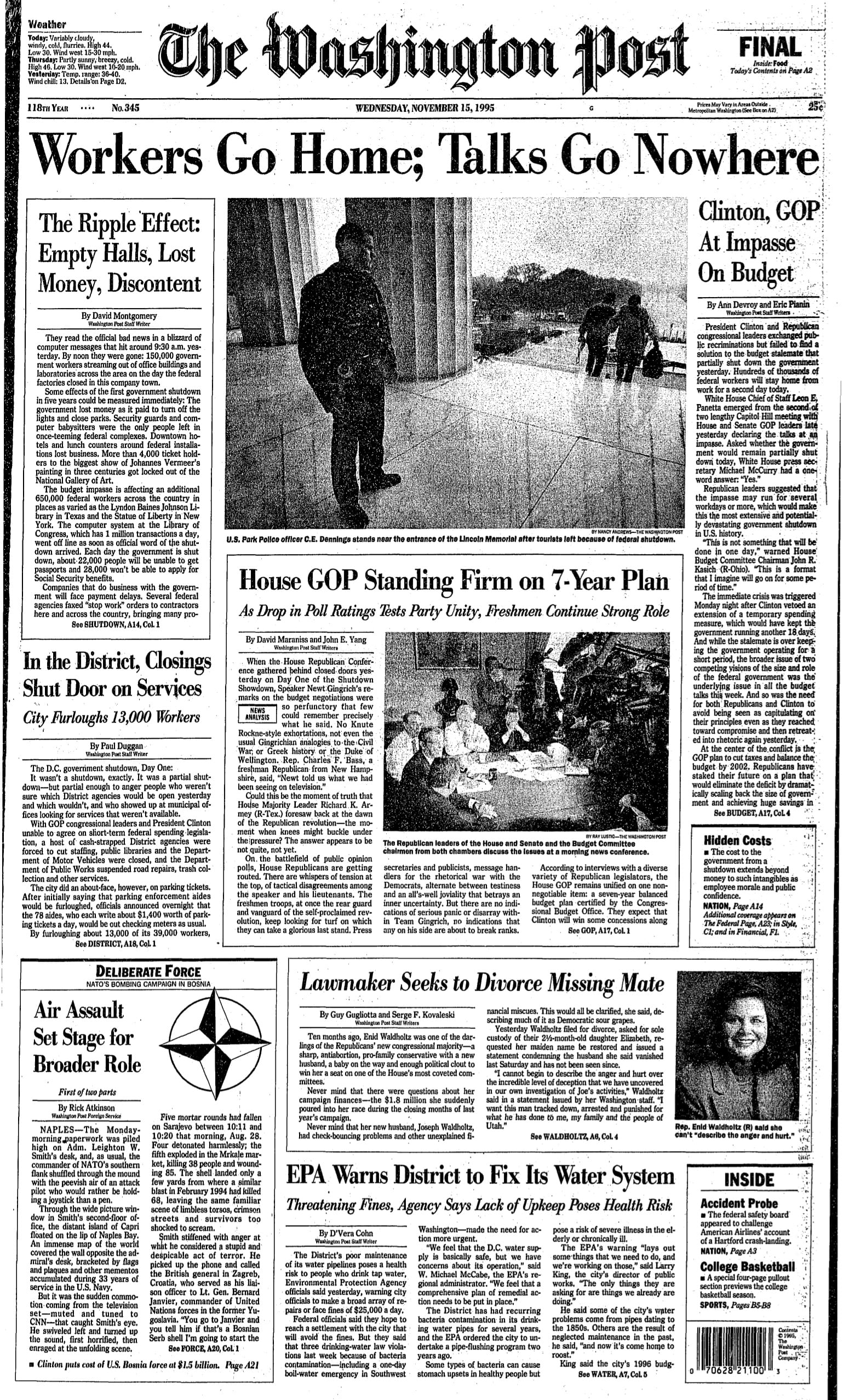 Washington Post front page - 11/15/95