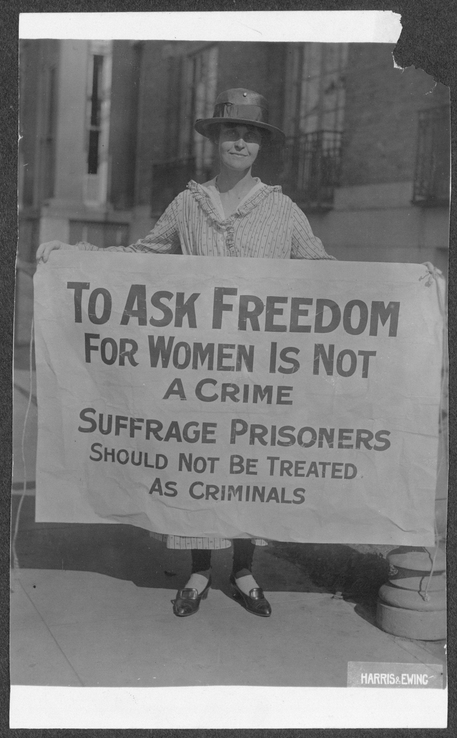 Mary Winsor (Penn.) '17 [holding Suffrage Prisoners banner]