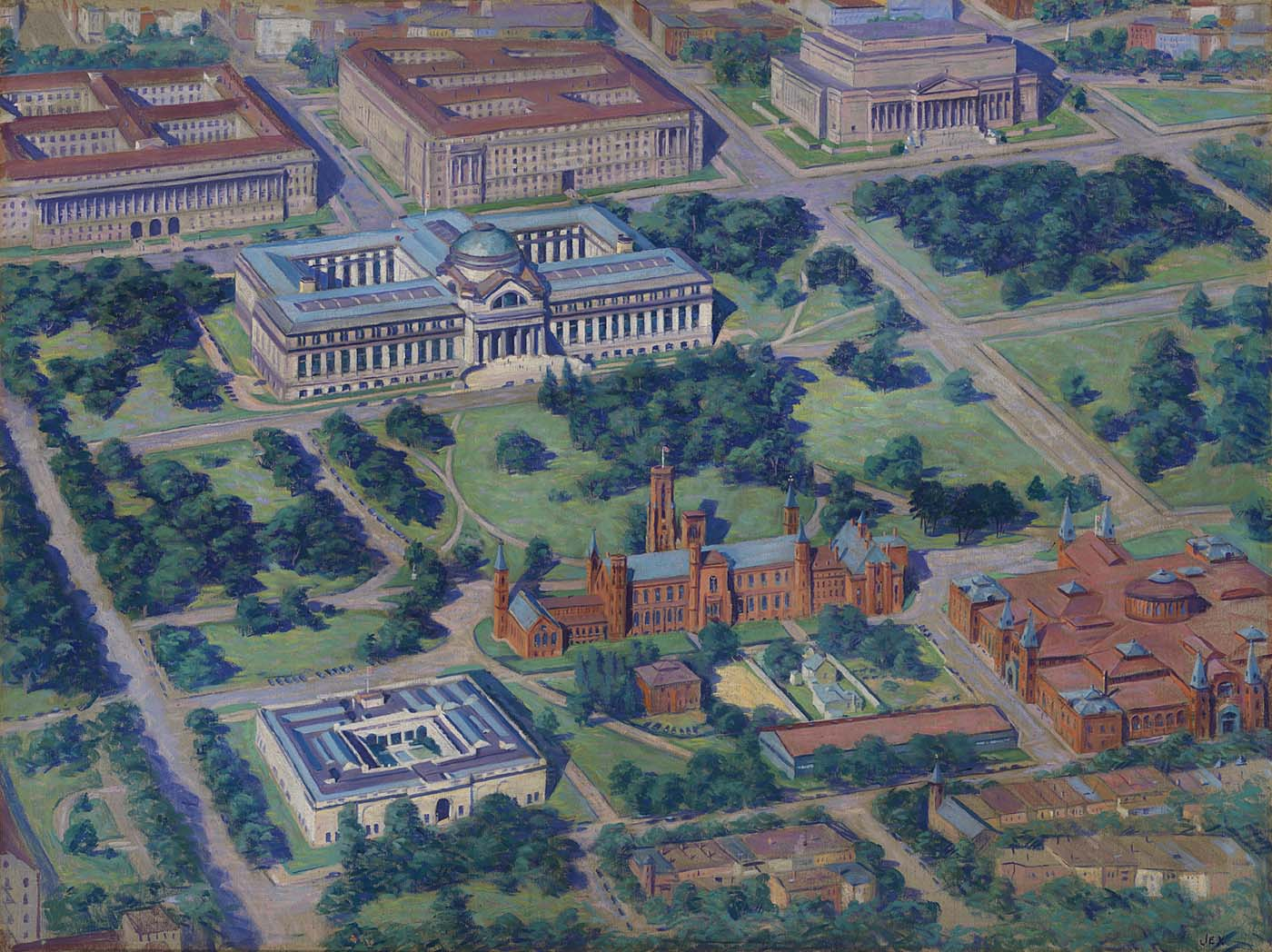 Painting of Aerial View of Smithsonian (1936)