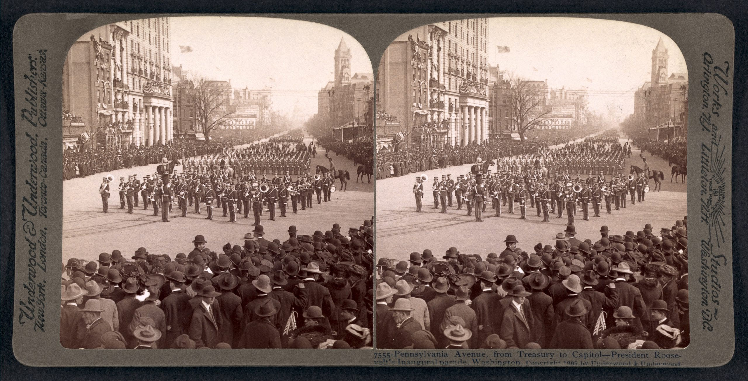 view down Pennsylvania Ave. in 1905 during Roosevelt's inauguration