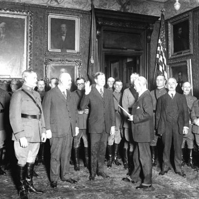 Swearing in of Dwight Davis as Assistant Secretary of War on March 5th, 1923