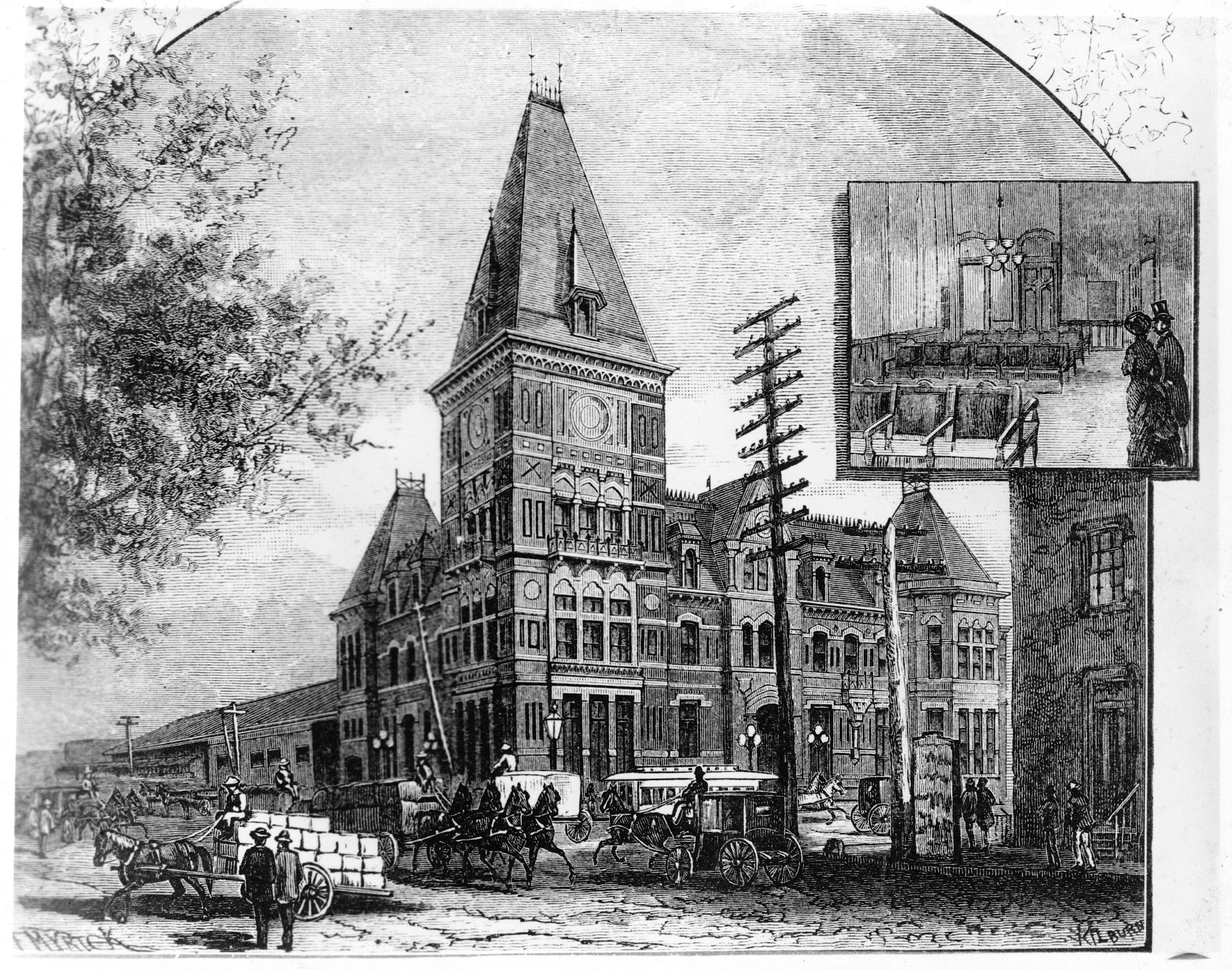 Exterior of old Pennsylvania Station, 6th & B Streets, N.W., Washington, D.C., as it appeared in the 1880's showing street traffic in front and insert of interior