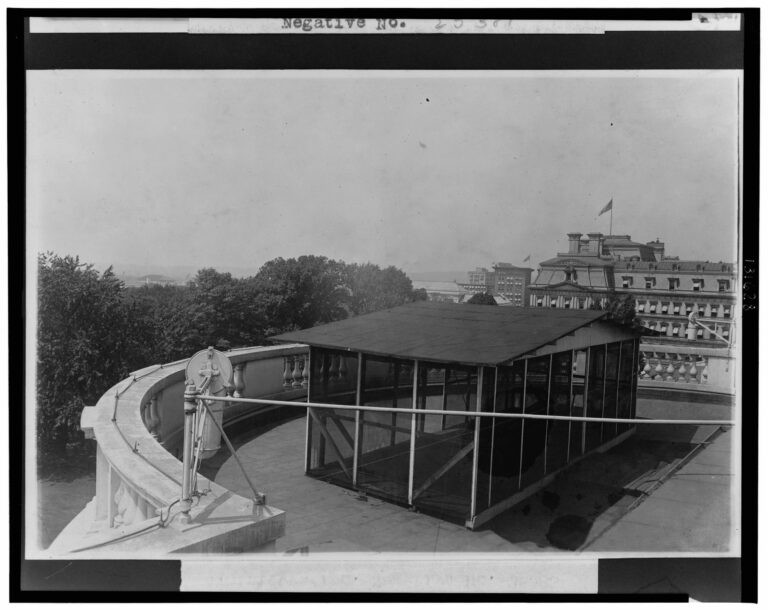 Sleeping porch on the roof of the White House Erected during the Taft Administration