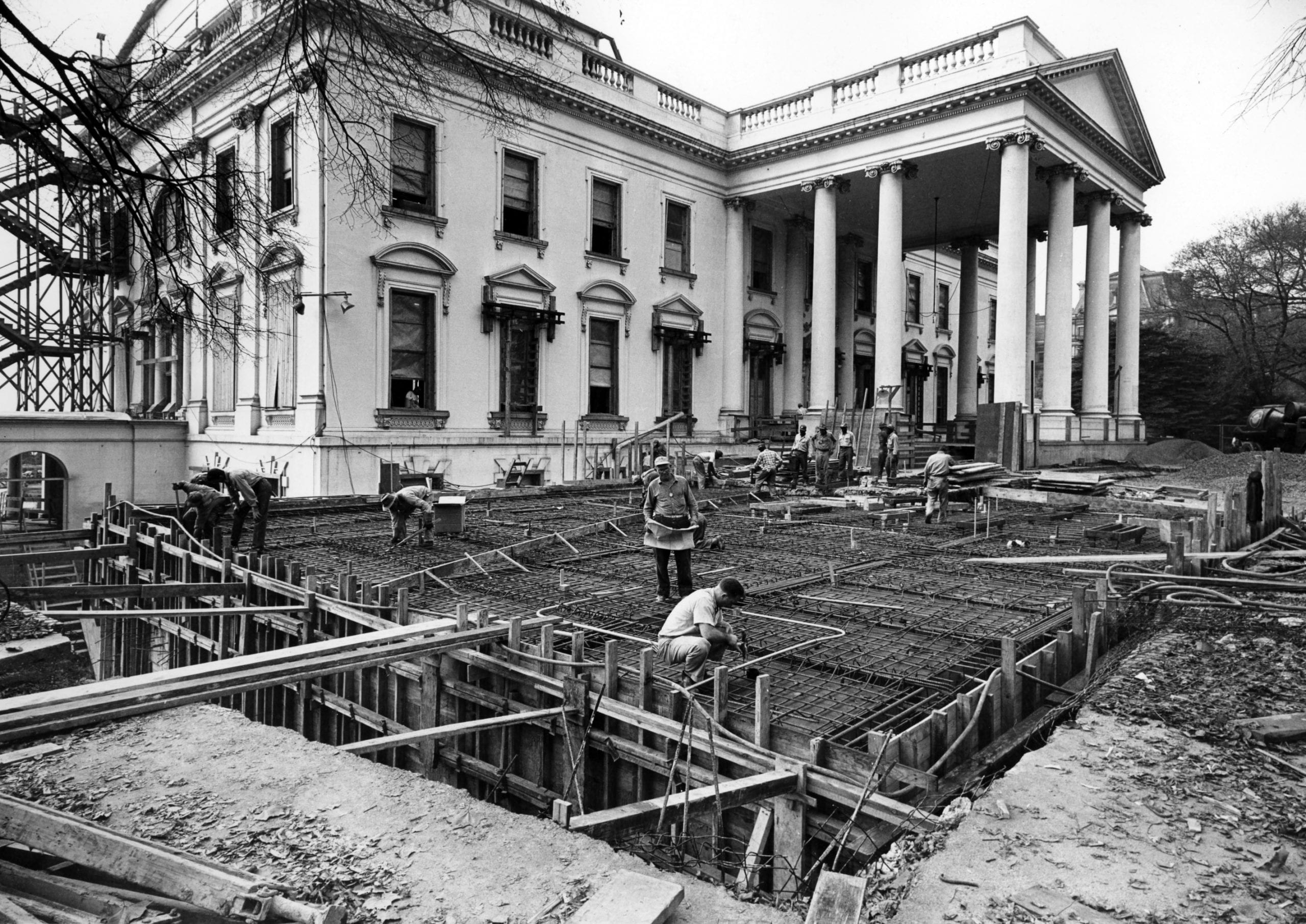 View of the Northeast Corner of the White House during the Renovation - November 6th, 1950