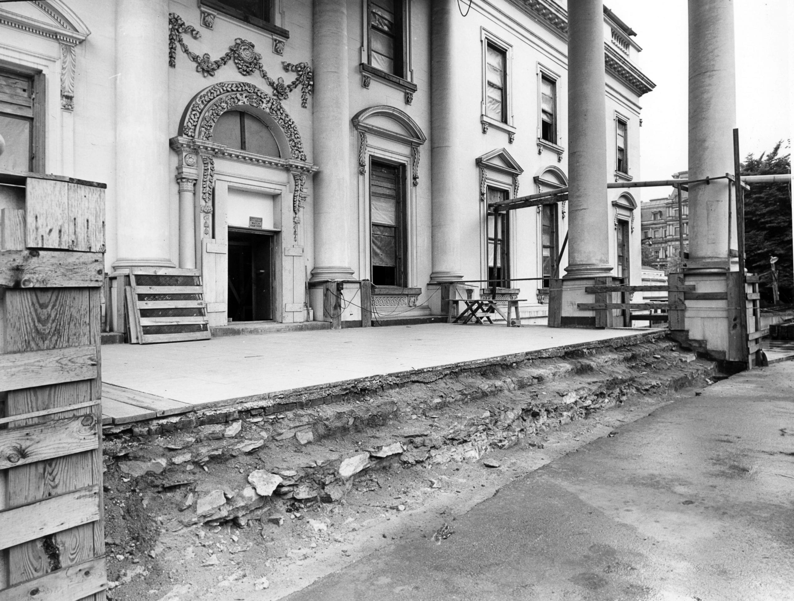 Southwest View of the North Portico of the White House during the Renovation - June 5th, 1951